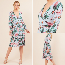 BLUE TROPICAL FLORAL PRINT SIDE BUTTON WRAP MIDI DRESS SIZES UK 8, 10, 12, 14